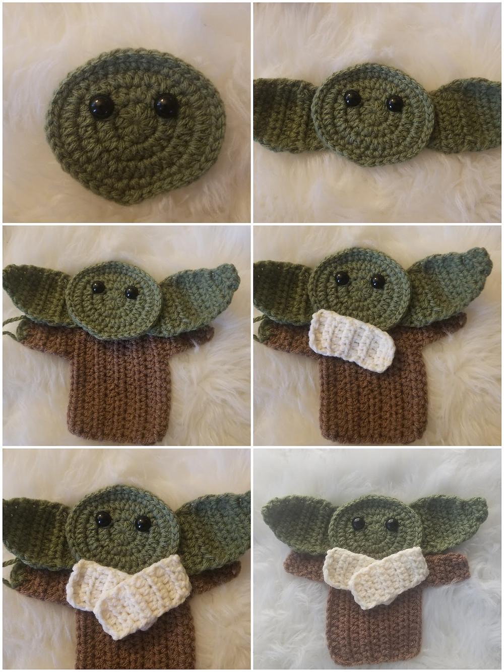 Little Green Wise Guy Crochet Applique Pattern Ornament Cardholders