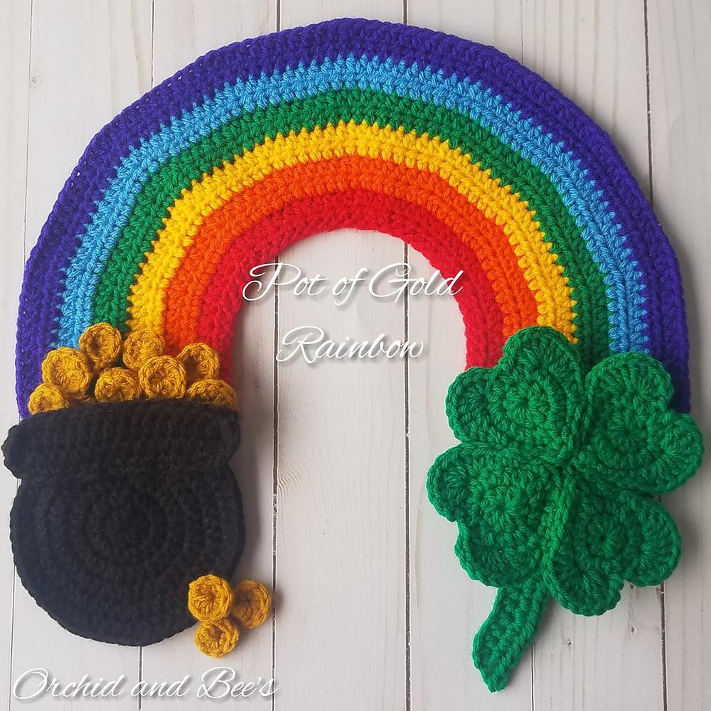 rainbow four leaf clover pot of gold ireland st patricks day crochet applique pattern
