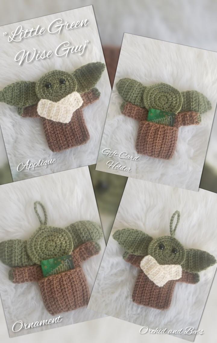 Little Green Wise Guy Crochet Applique Ornament Cardholder