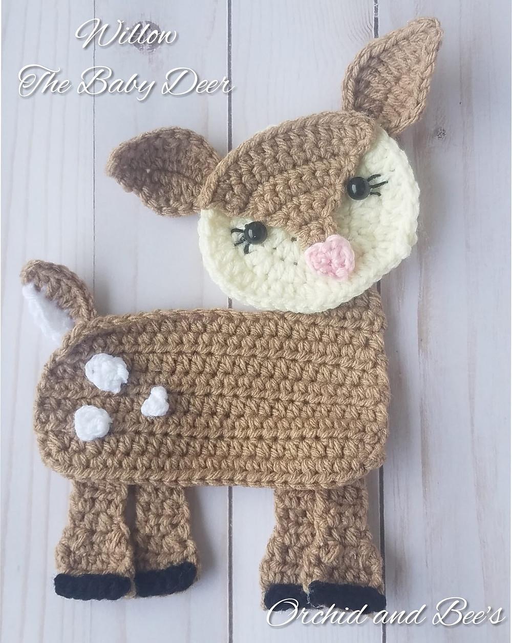 deer spring fawn baby deer buck doe bambi crochet patter applique