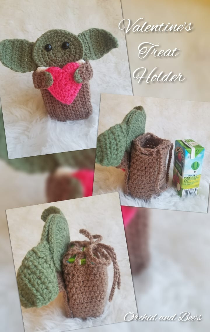 Valentines Treat holder crochet, force be with you, wars star, child