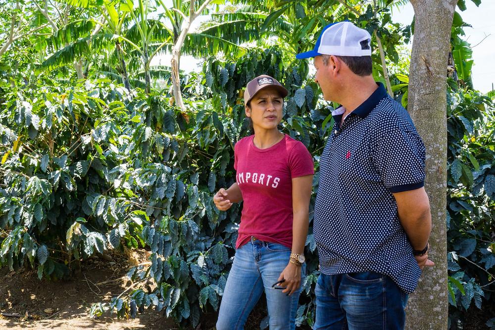Francine Ramirez of OXCART Coffee & Producer Oscar Chacon