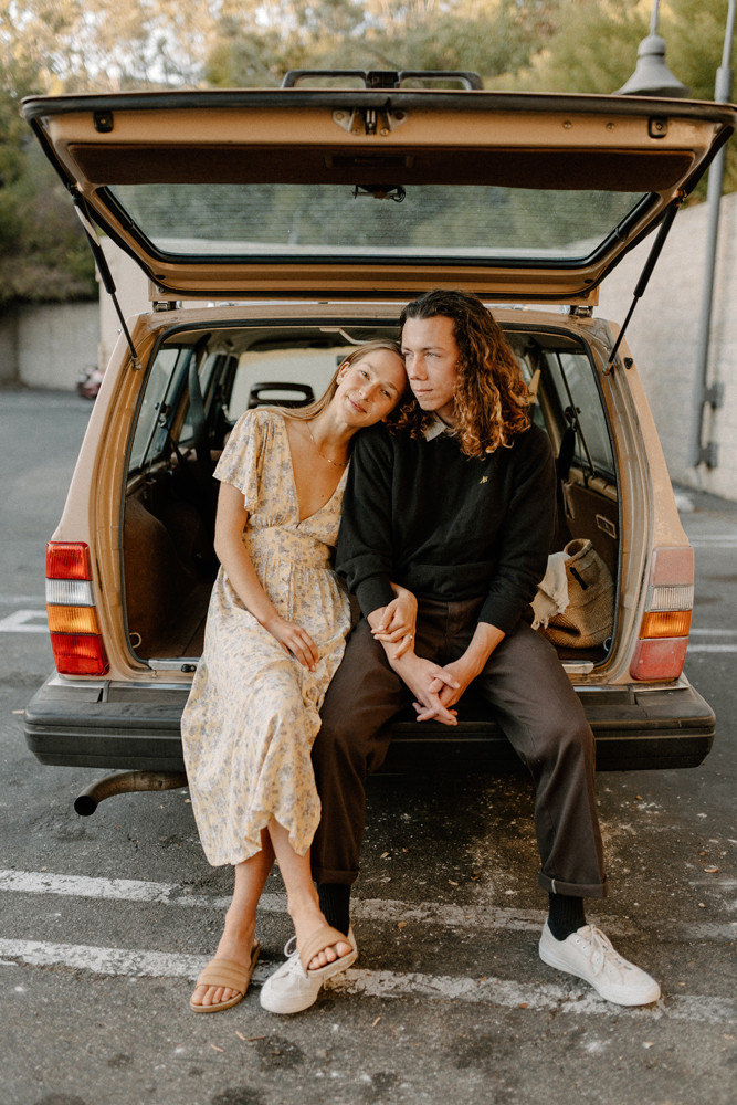station wagon parking lot engagement photos