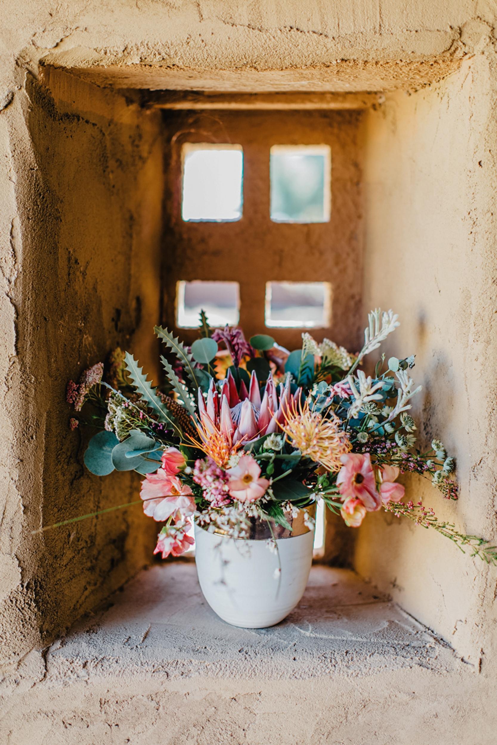 colorful bohemian desert bouquet