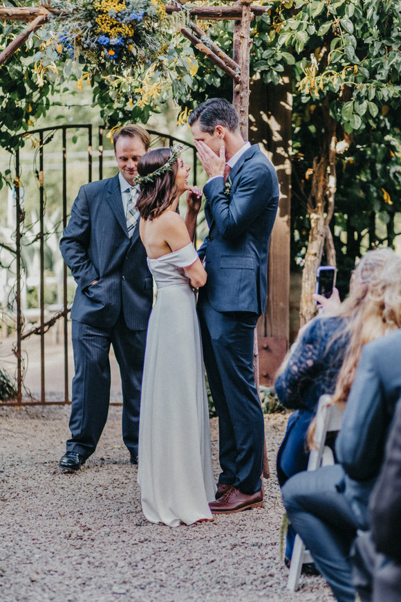 groom crying during ceremony big sur bakery wedding
