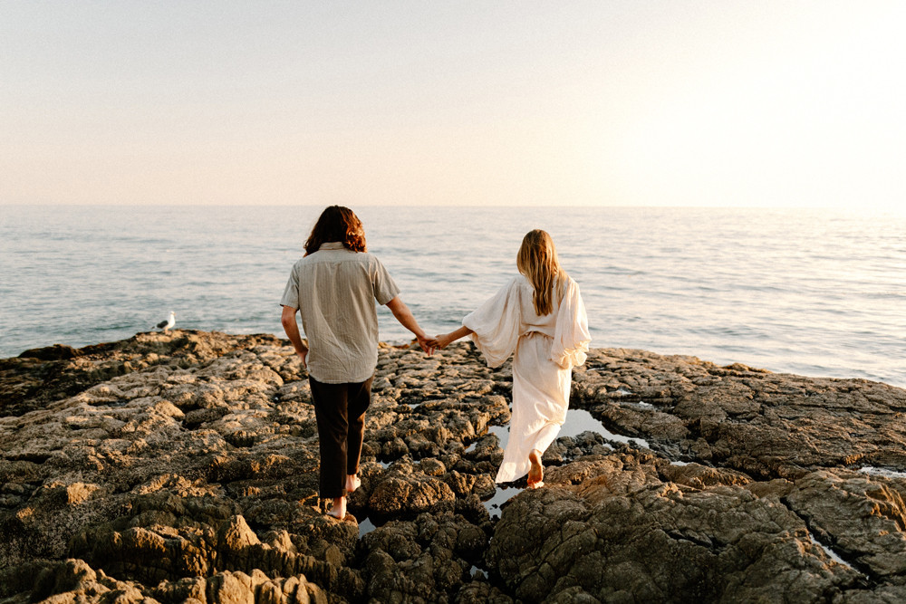 beach rocks california engagement photos