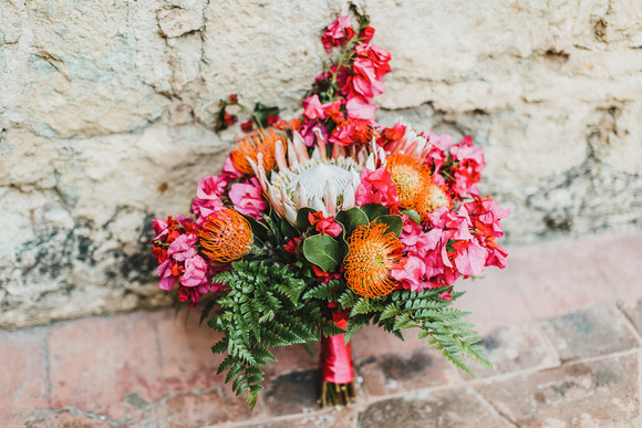 bohemian pink and orange bouquet