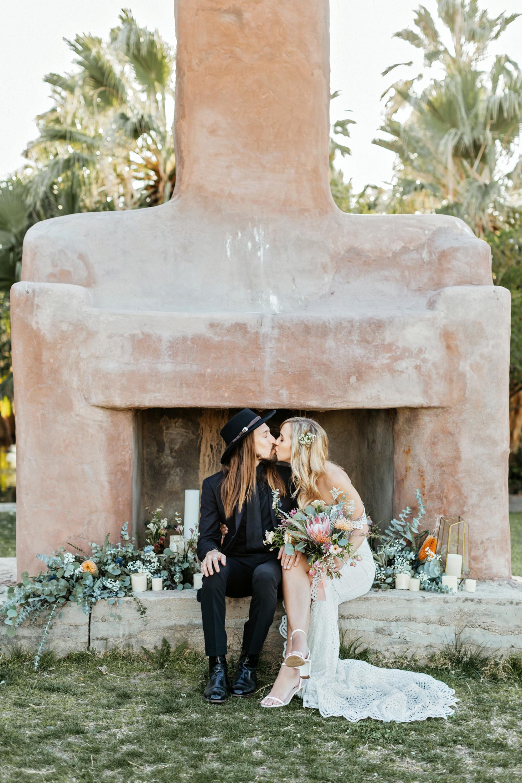 twenty nine palms inn wedding adobe fireplace