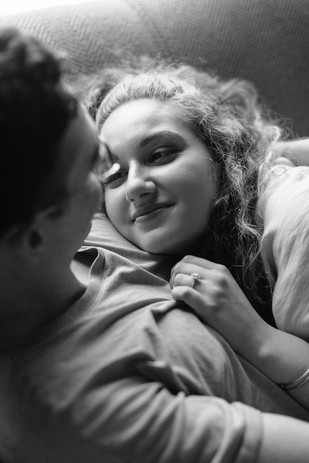girls lying on guy's chest lifestyle photographer