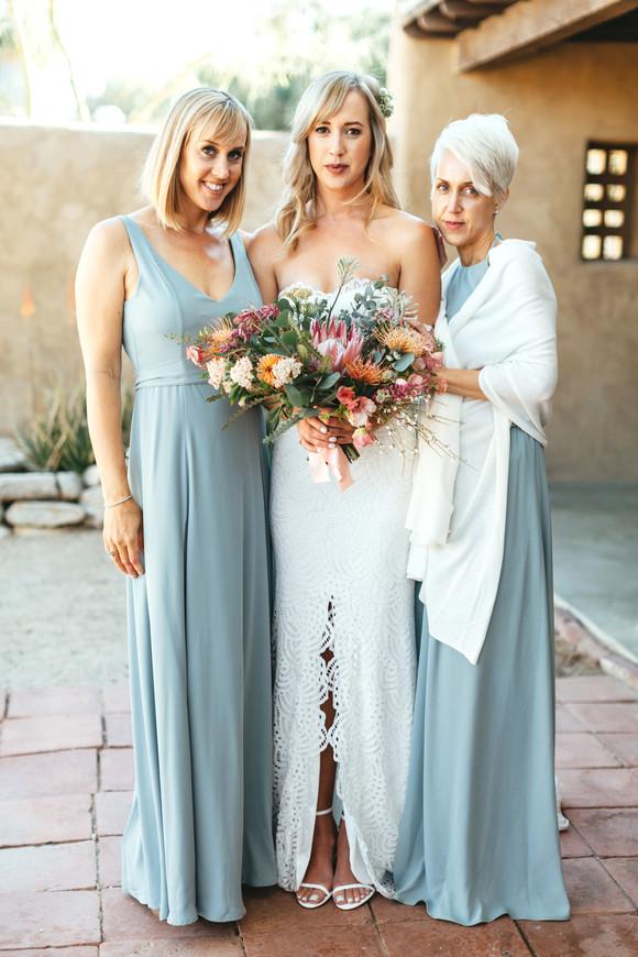 bridesmaids wearing seafoam dresses