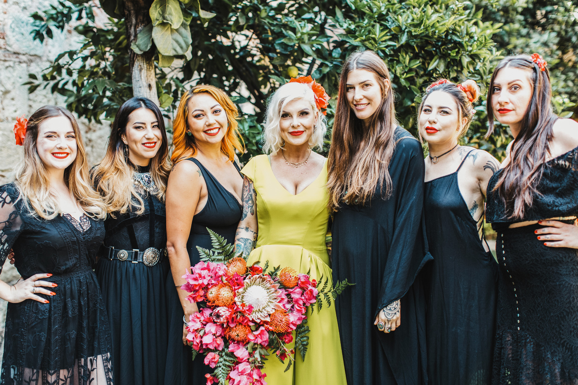 bridesmaids wearing all black mexico wedding