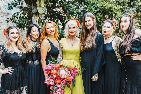 bridesmaids wearing all black mexico wedding