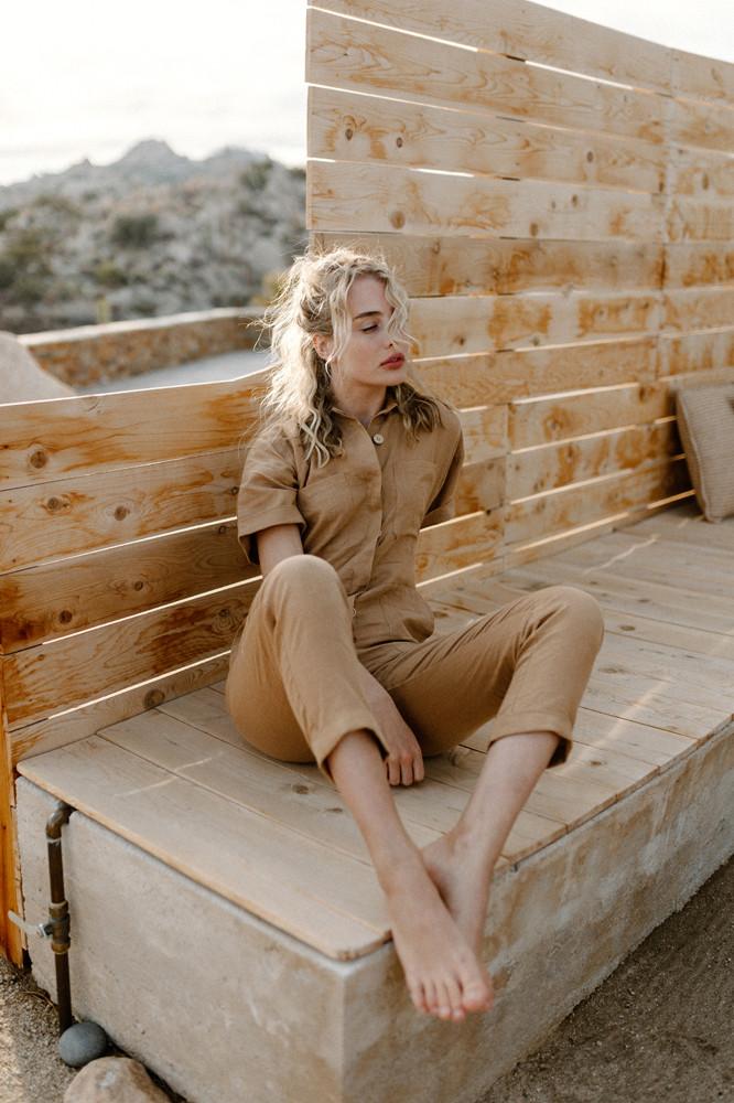 desert brown linen jumpsuit brand photography