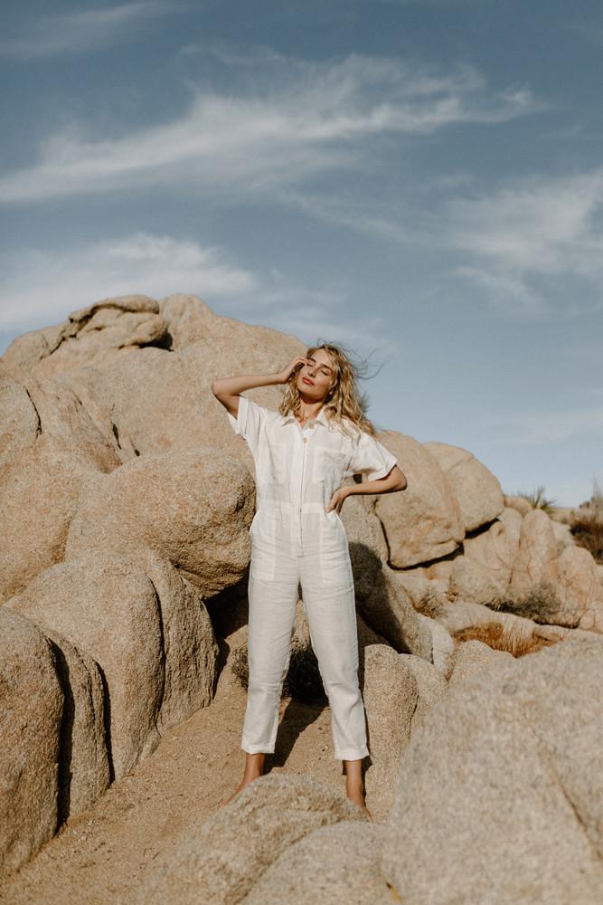white linen jumpsuit desert rocks
