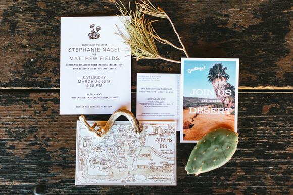 desert wedding invitation suite with map