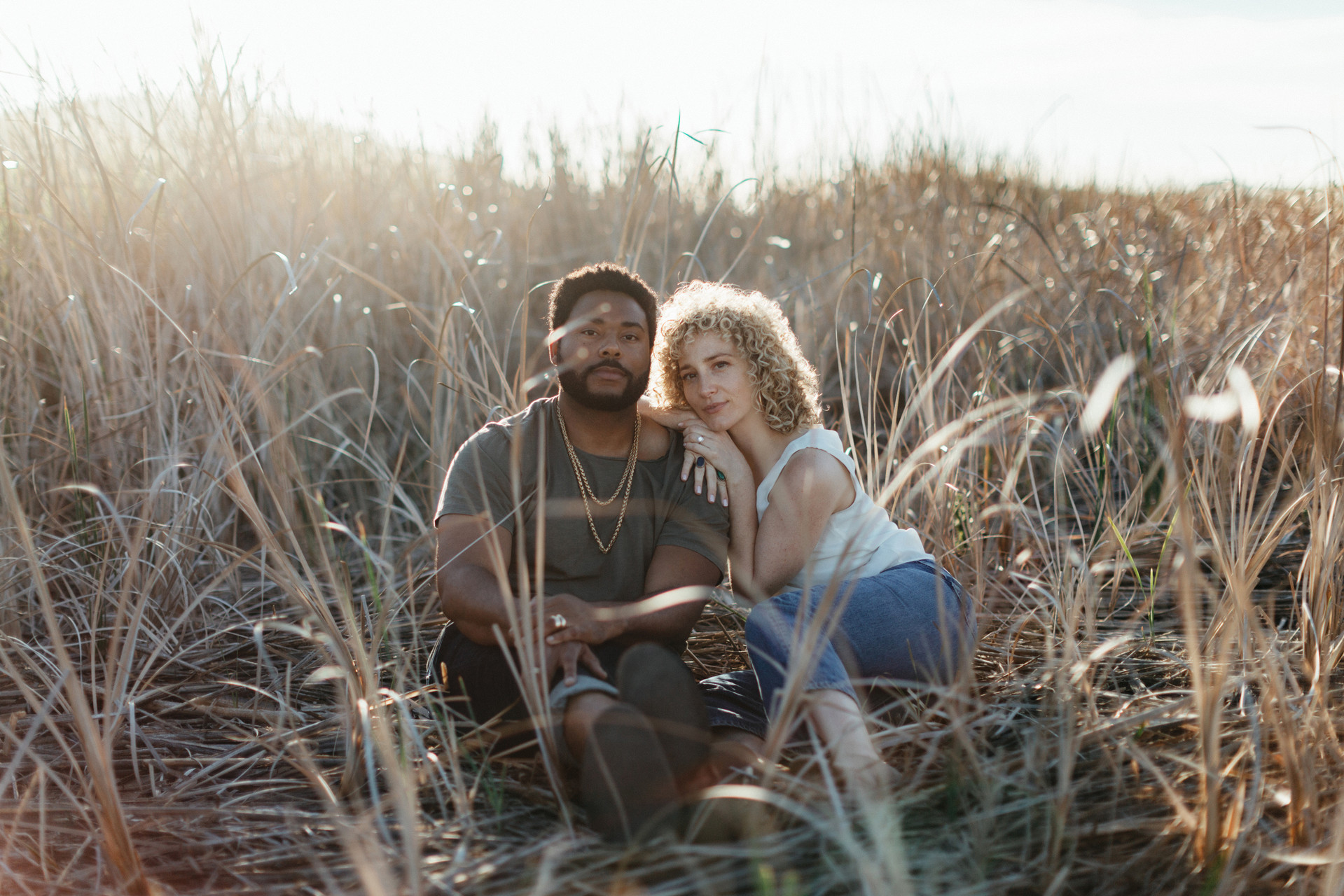 california engagement photos in field