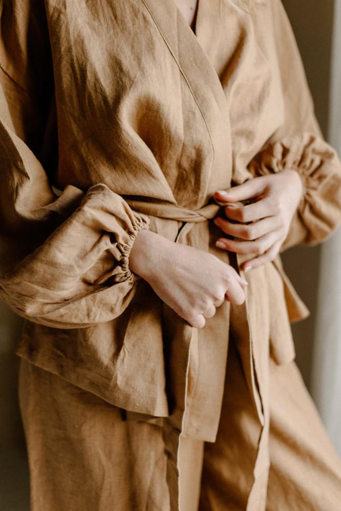 camel linen robe loungewear