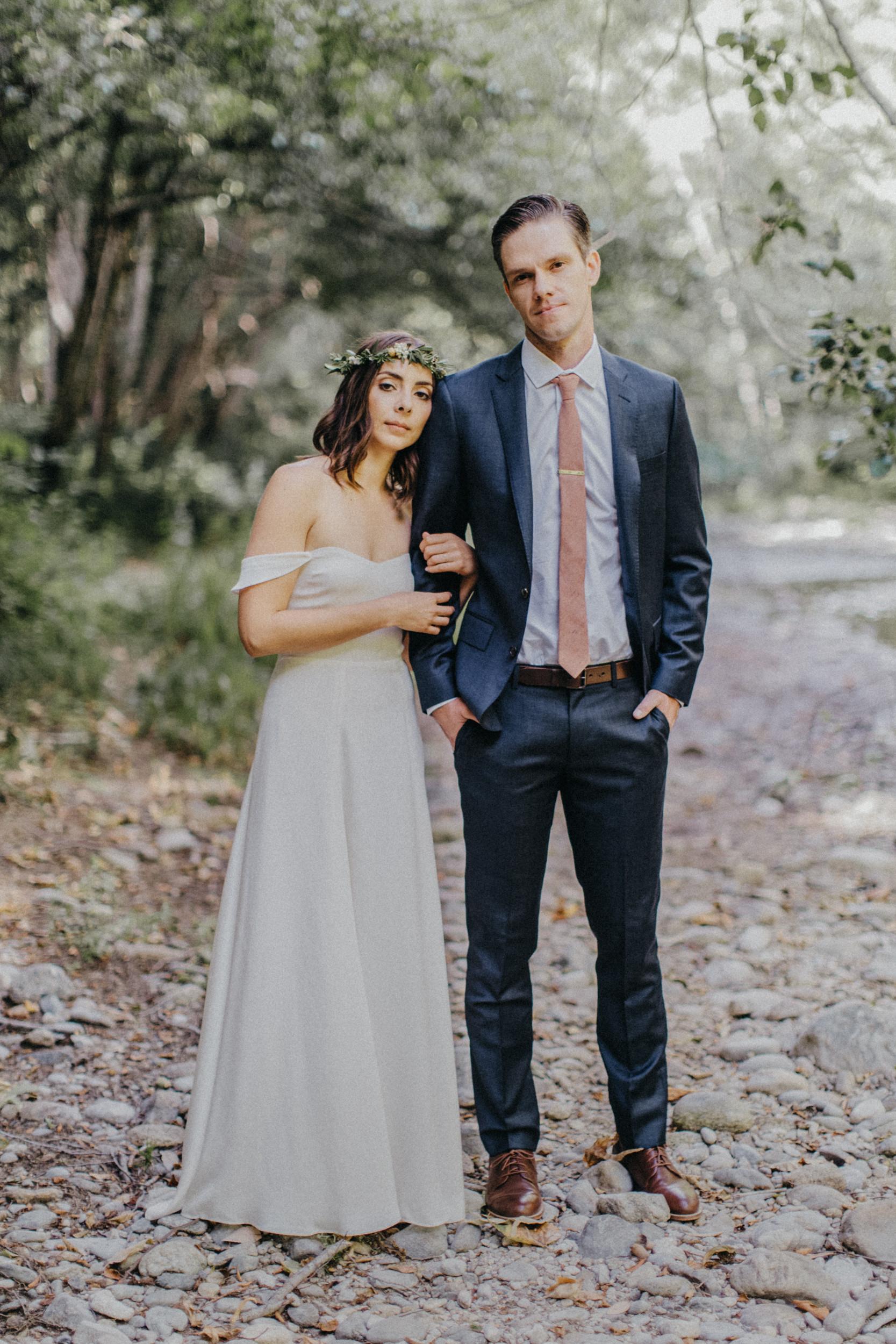 glen oaks big sur bride and groom at creek