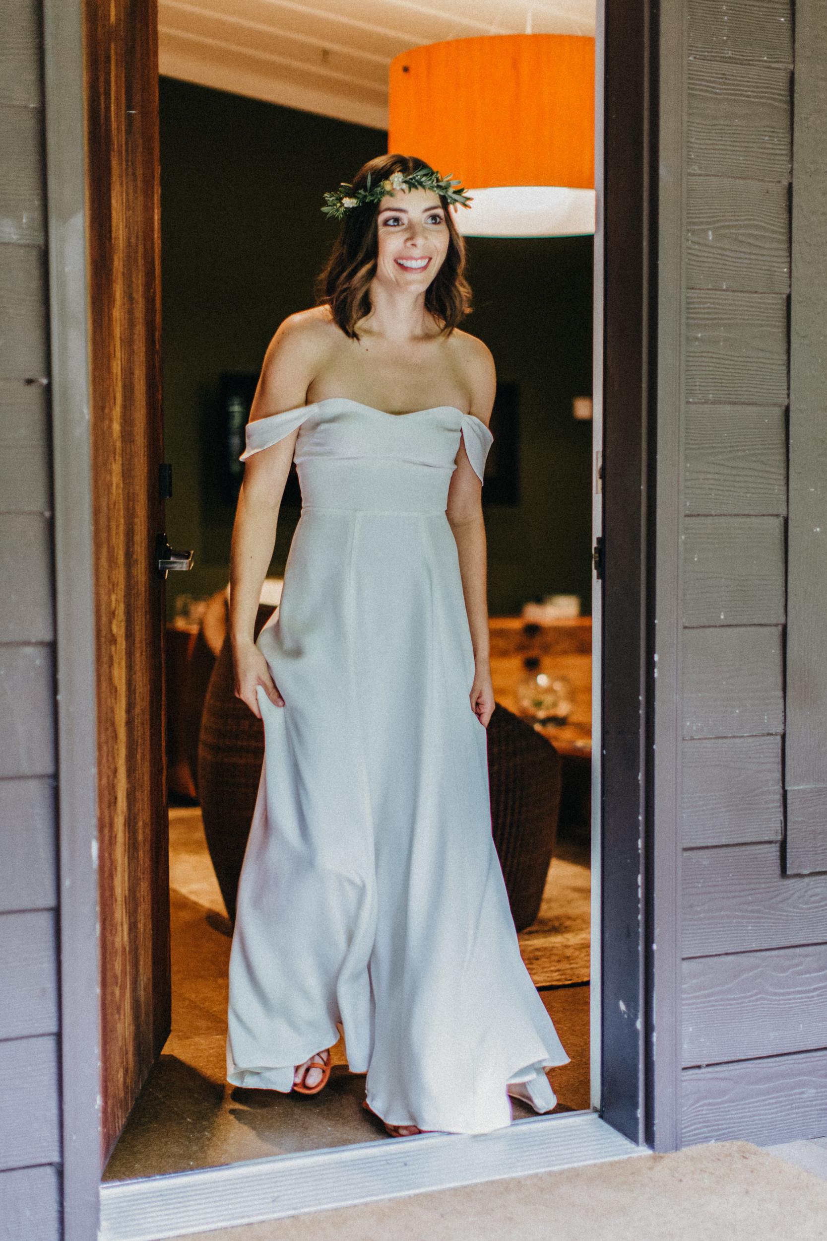 bride coming through door for first look