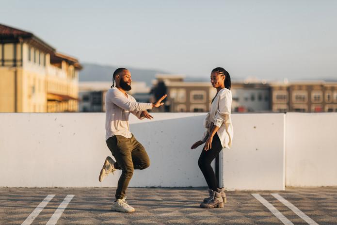 dancing on top of parking garage