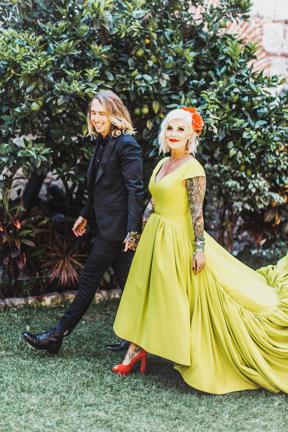 custom chartreuse bridal gown with red shoes