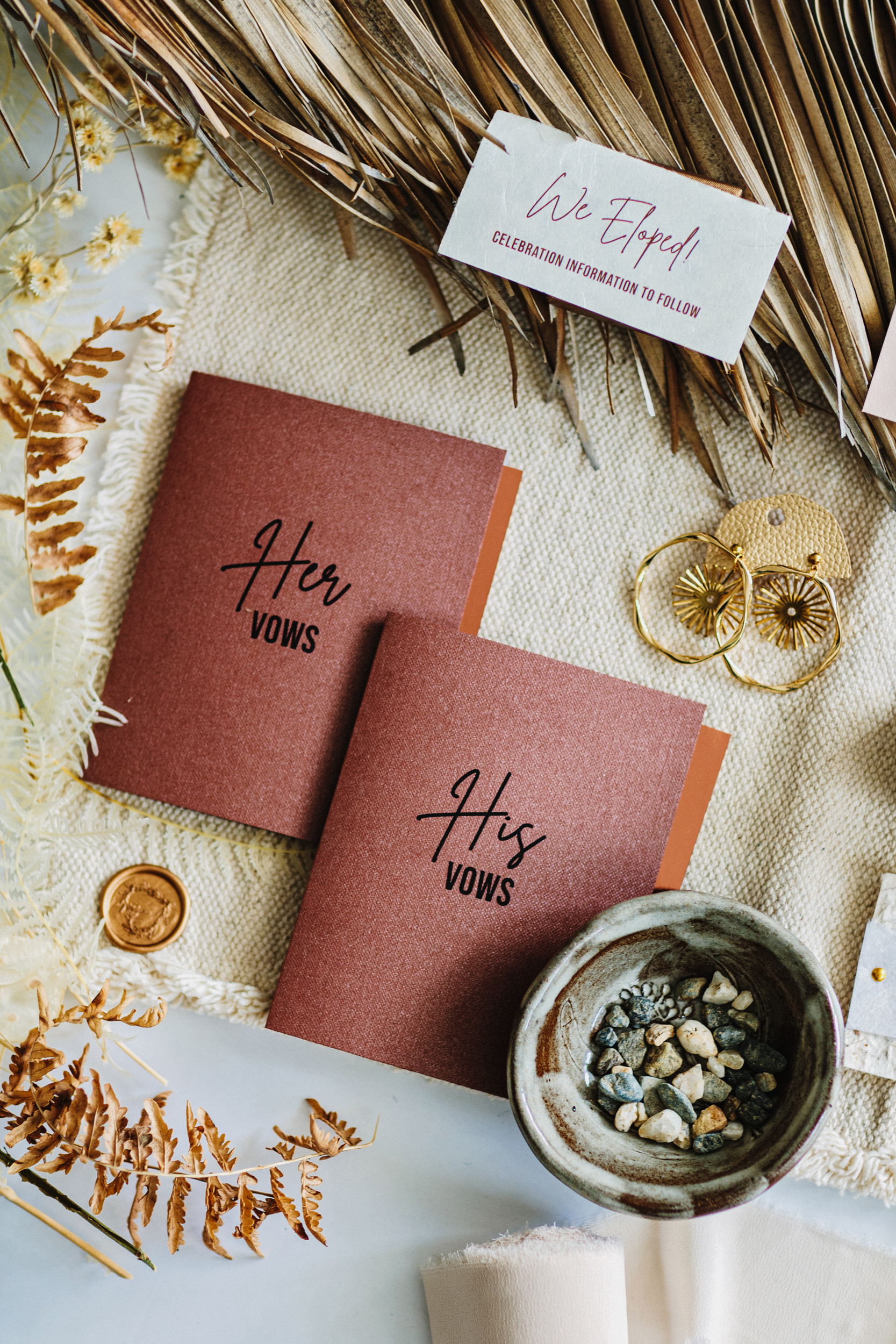 bohemian bride and groom vow books