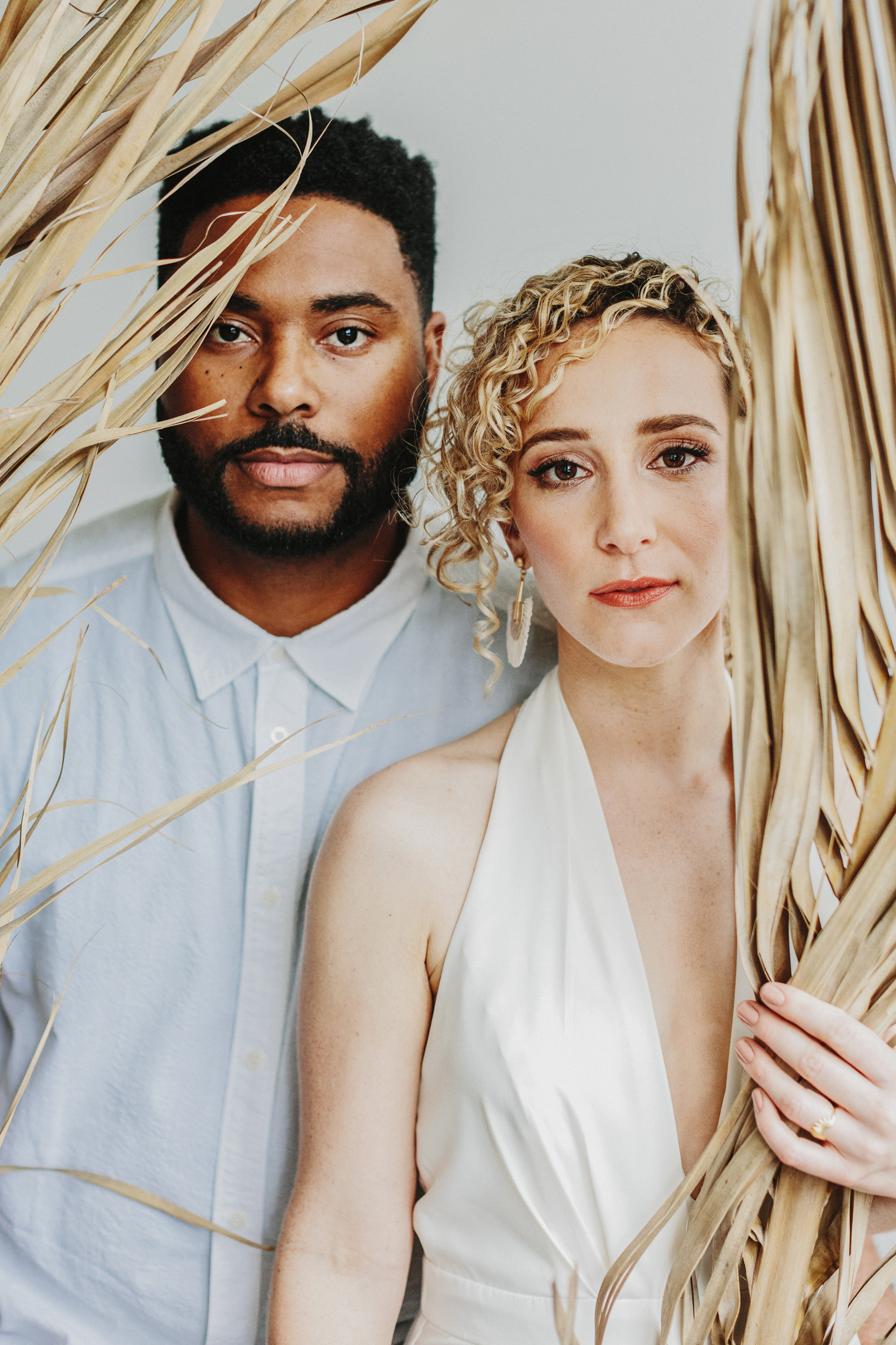 portrait of biracial bride and groom