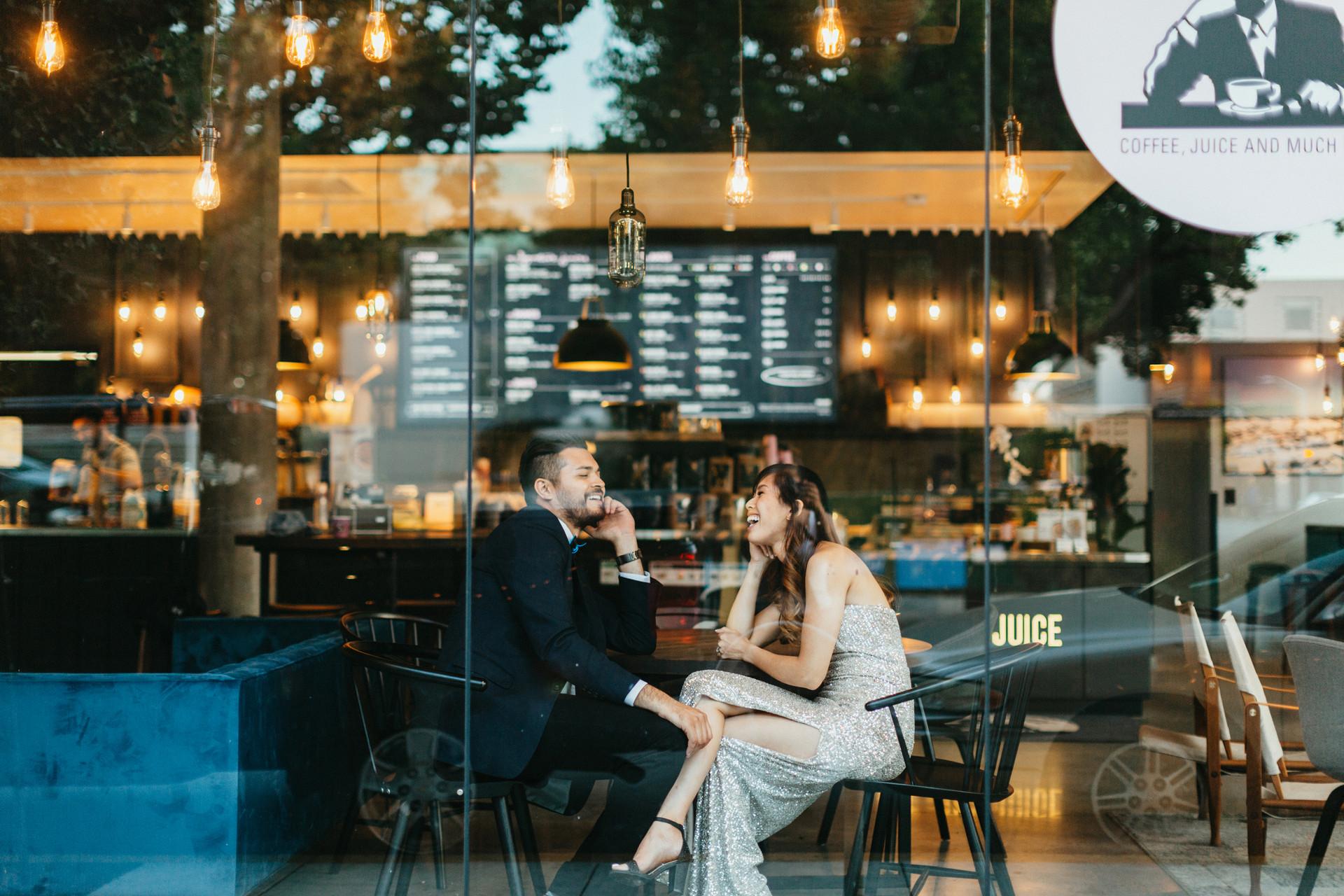 california coffee shop engagement photos