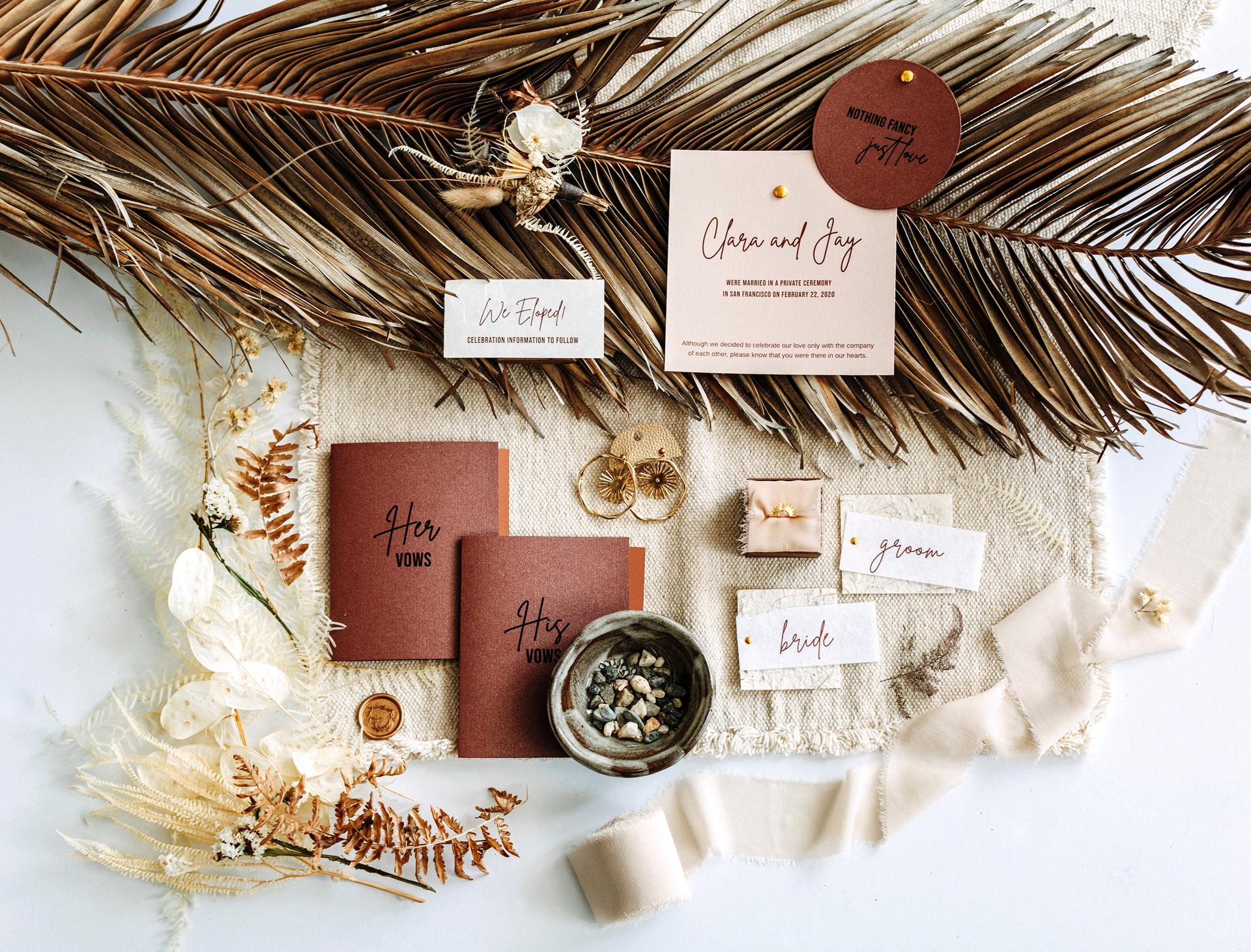 bohemian elopement invitation suite