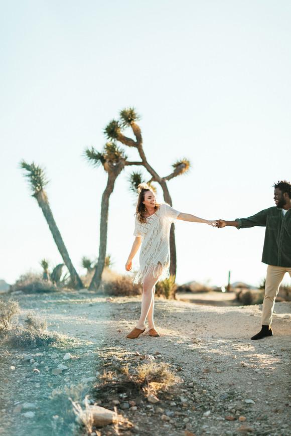 couple dancing in joshua tree engagement photographer