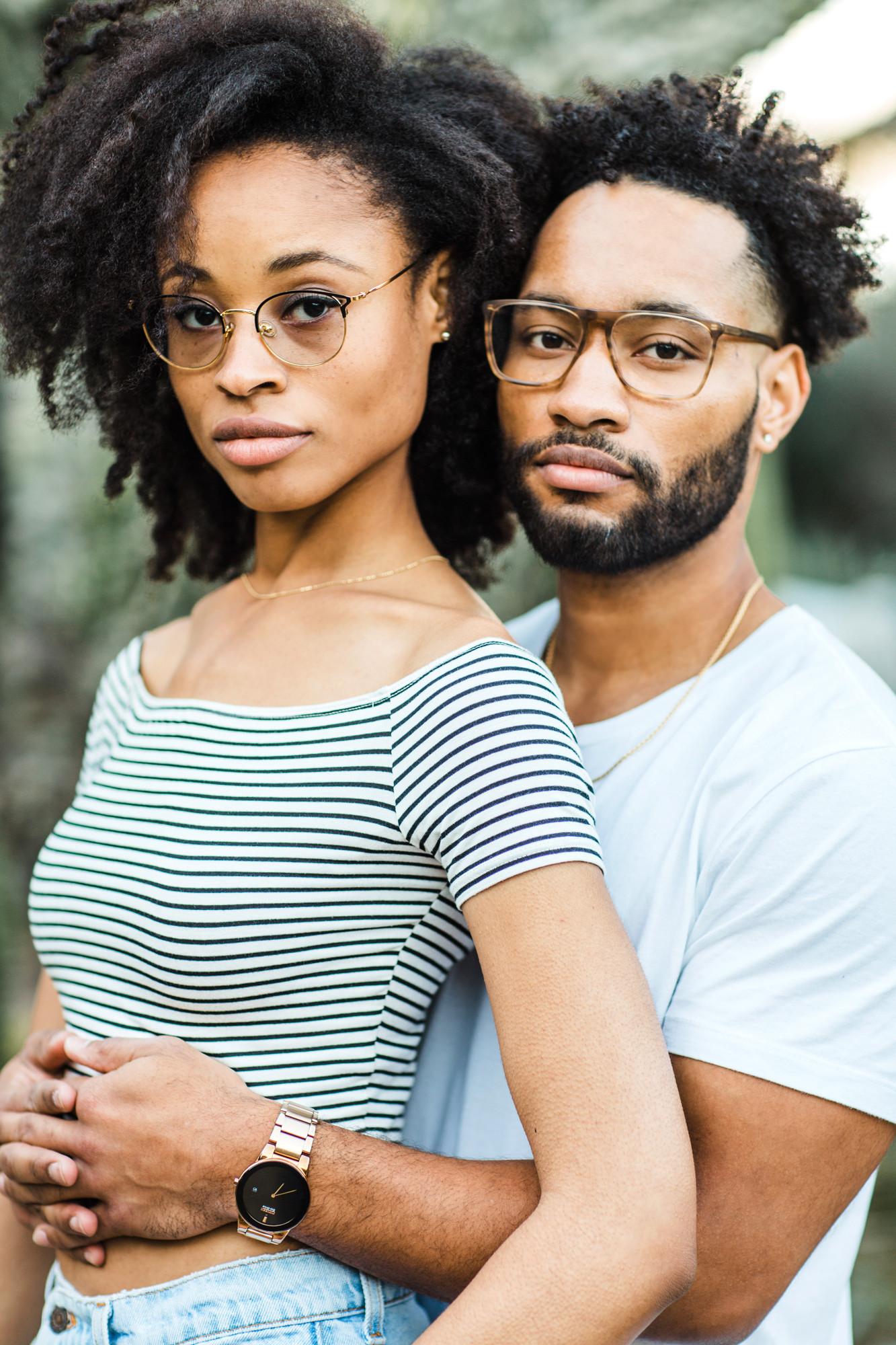 black couple natural hair engagement photos