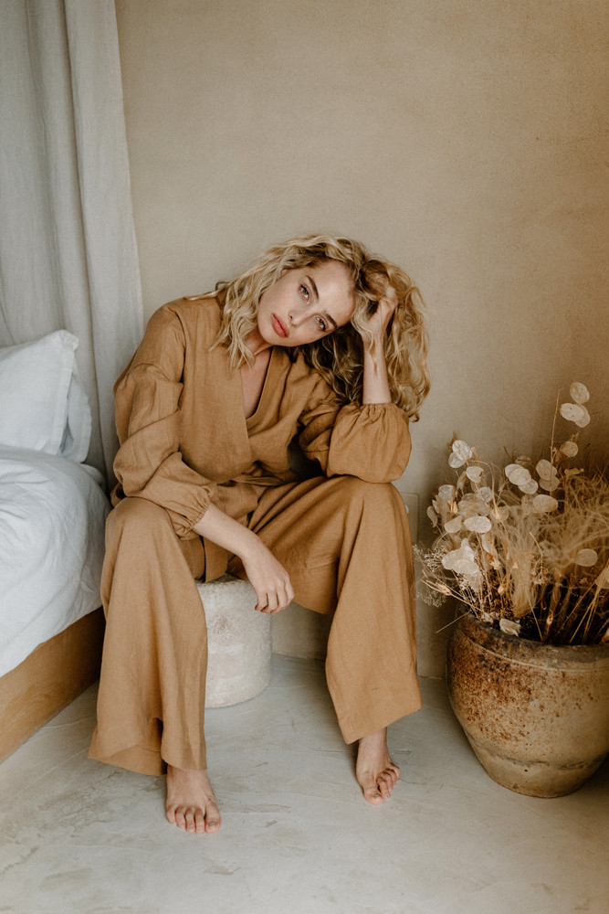 model wearing linen clothing