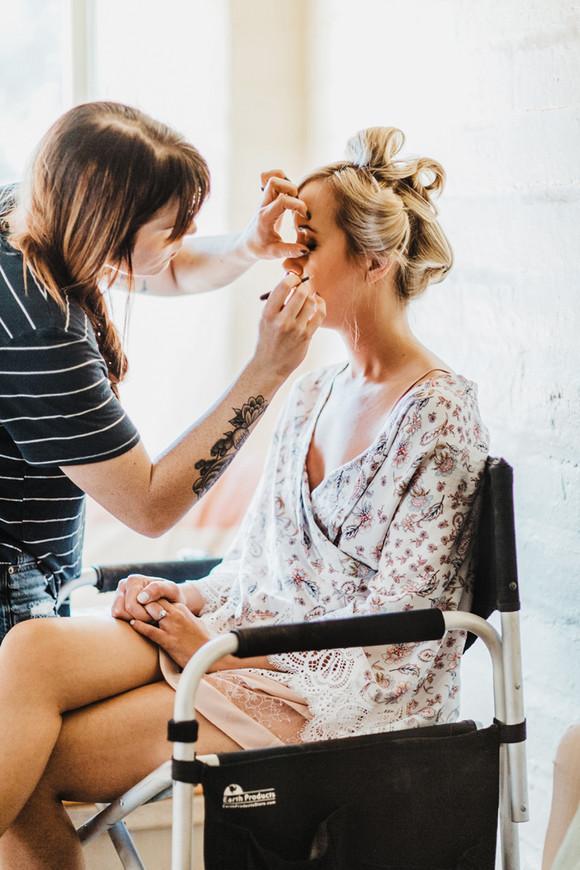 desert wedding photographer bride makeup done