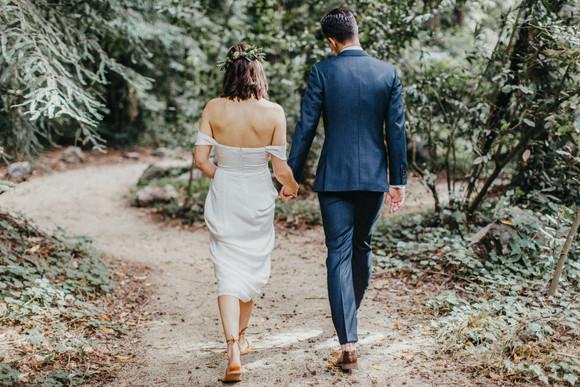 bride and groom at glen oaks big sur wedding