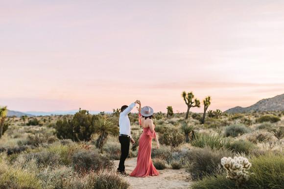 joshua tree sunrise engagement couple dancing