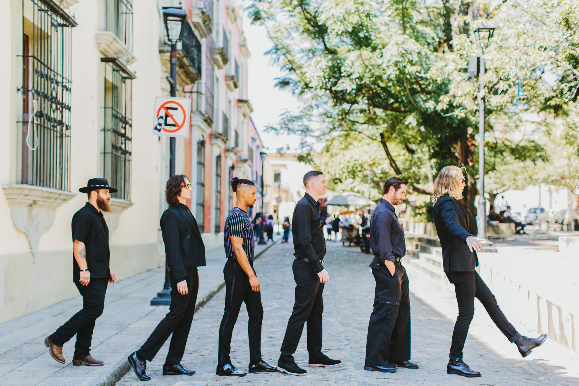 groomsmen beatles walking across street pose