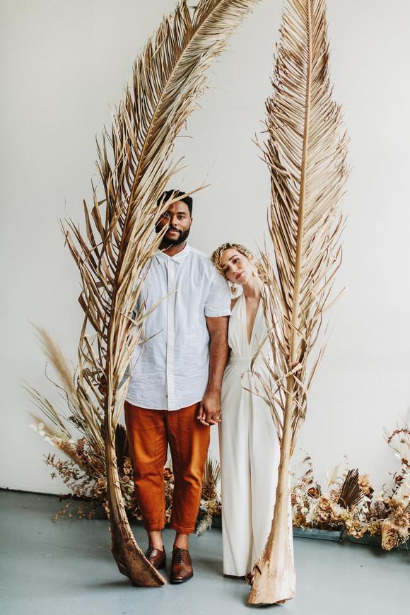 dried palm leaf wedding elopement inspiration