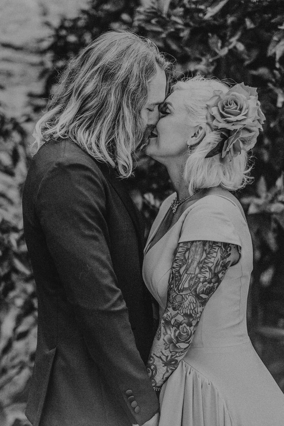 tatted southwestern bride and groom