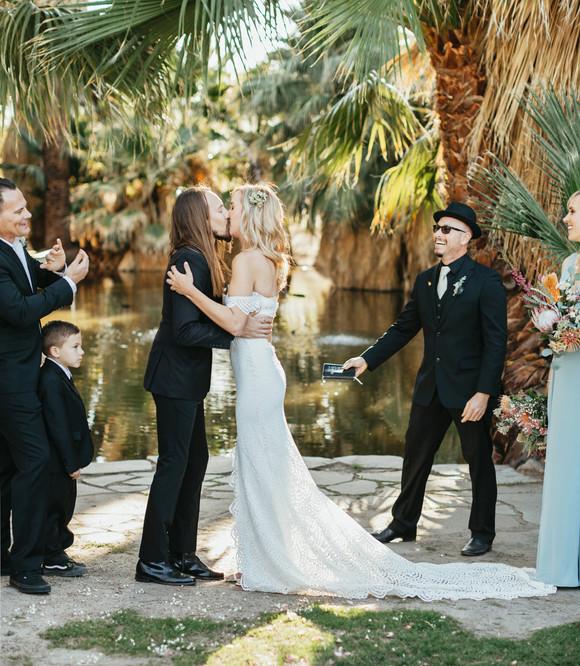 twenty nine palms in wedding ceremony first kiss