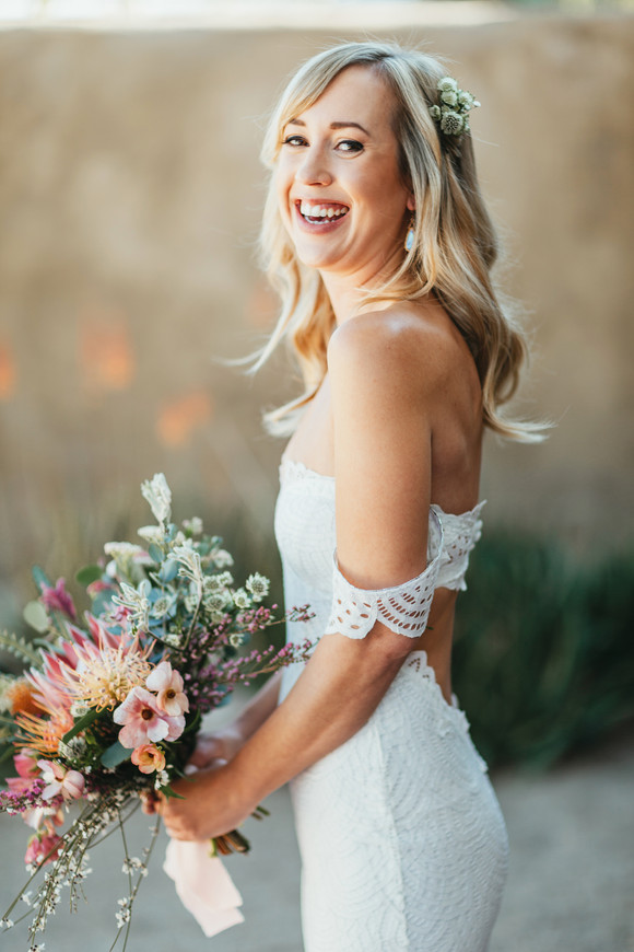 twenty nine palms inn wedding bride smiling