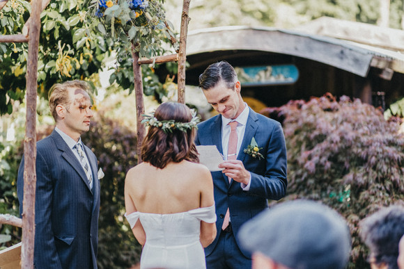 bride and groom exchanging vows big sur bakery ceremony