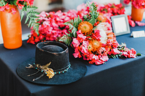 southwestern groom hat and bouquet