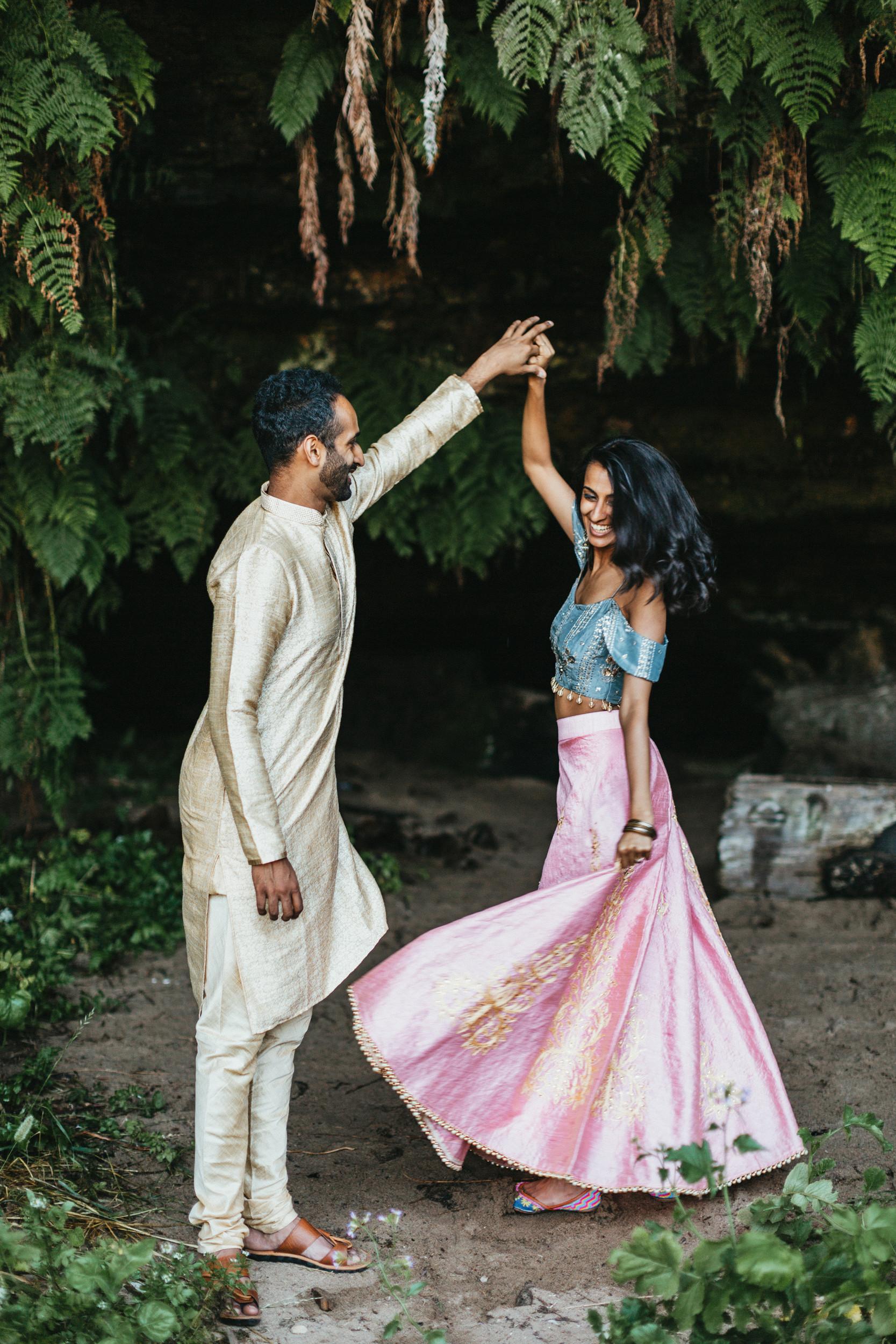 indian couple dancing engagement photos