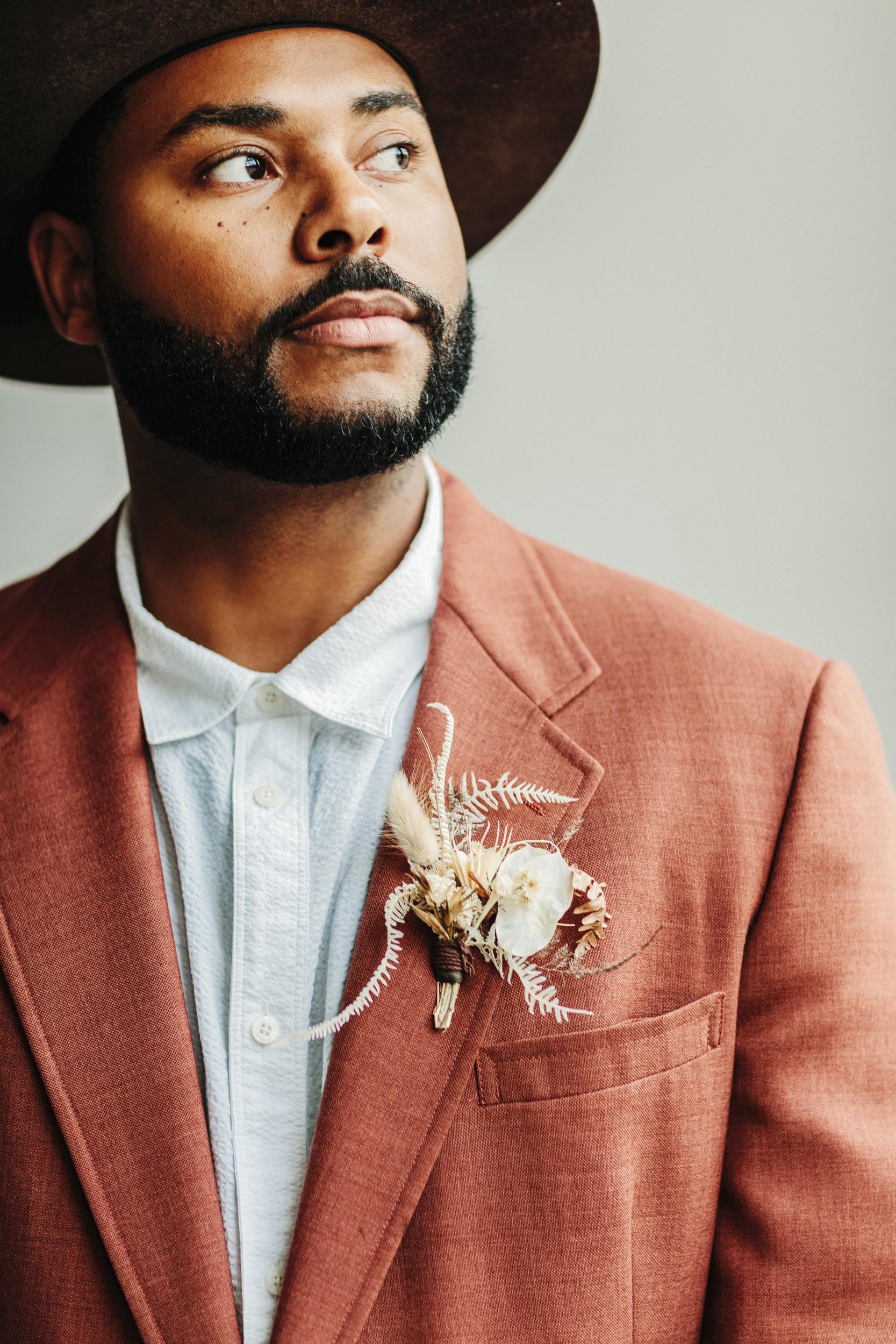 black bohemian groom linen jacket
