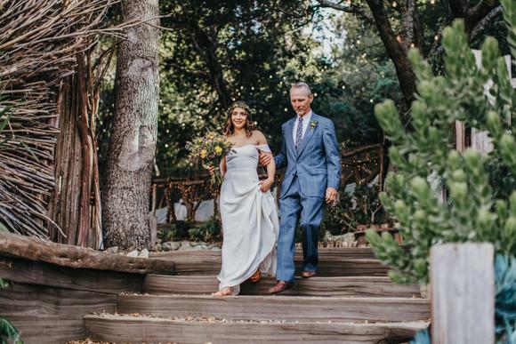father walking bride down aisle big sur bakery wedding
