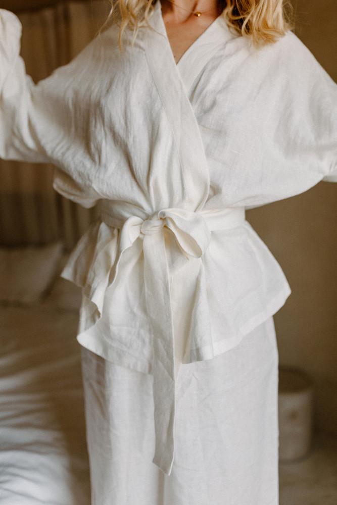 eco friendly linen robe brand photoshoot