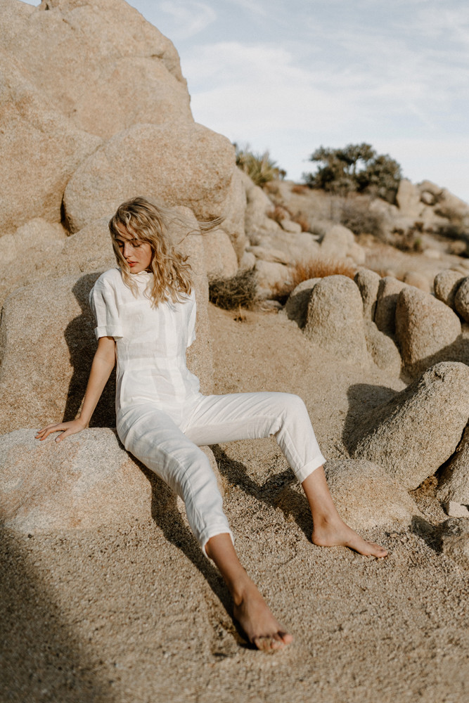 desert branding photoshoot linen jumpsuit