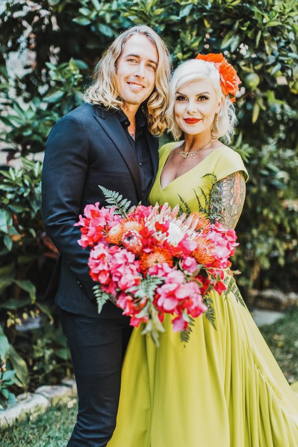 chartreuse wedding dress tropical bouquet