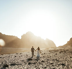 wedding photography couple walking on pfieffer state beach