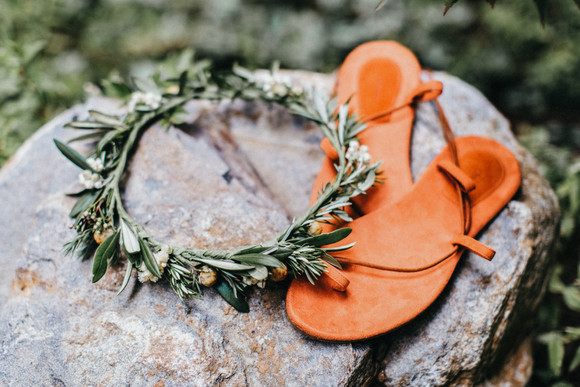 bohemian bridal sandals and floral crown